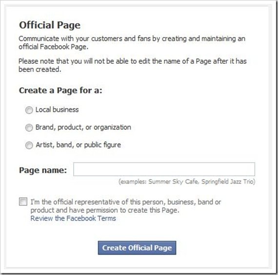 facebook page creation form