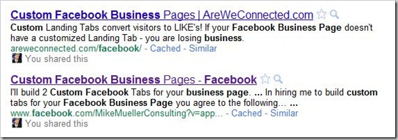 Google Search for Custom Facebook Business Page SERP