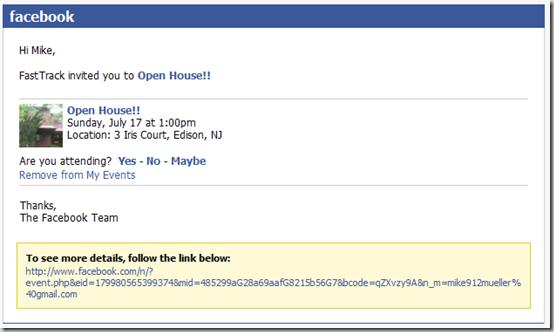 Facebook Event Spam