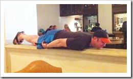 Planking in the middle of the hotel