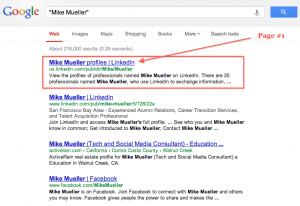 Search for Mike Mueller on Google