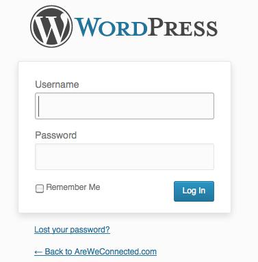 Your WordPress Login screen