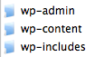 The three folders of wordpress