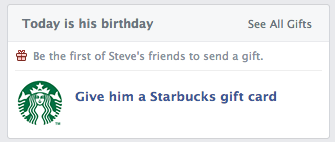 startbucks facebook gift