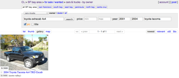 My search for a truck on Craigslist