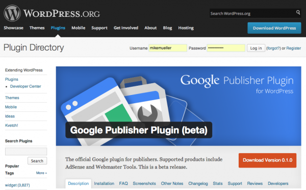 The Google Publisher Plugin