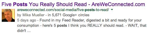 My last post as it appears in Google