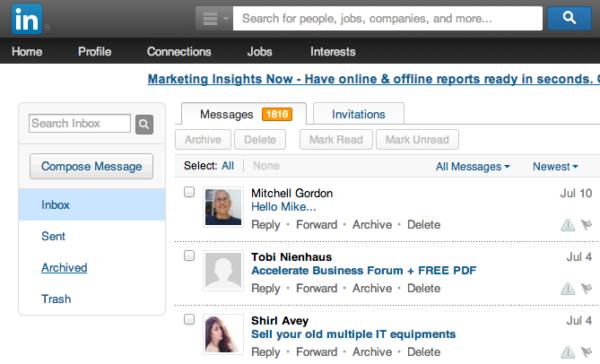 Archive box in Linkedin