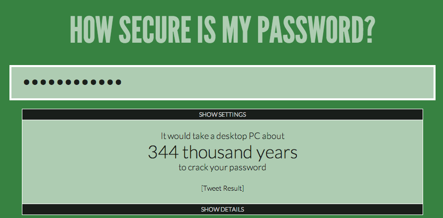 Testing my password
