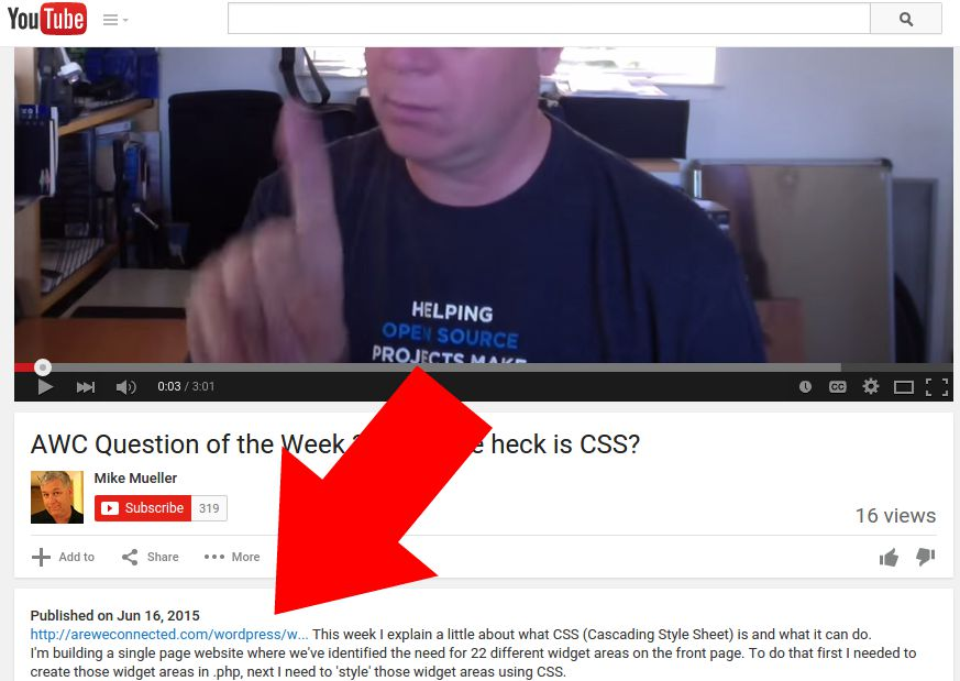 Permalink in a YouTube Video Description