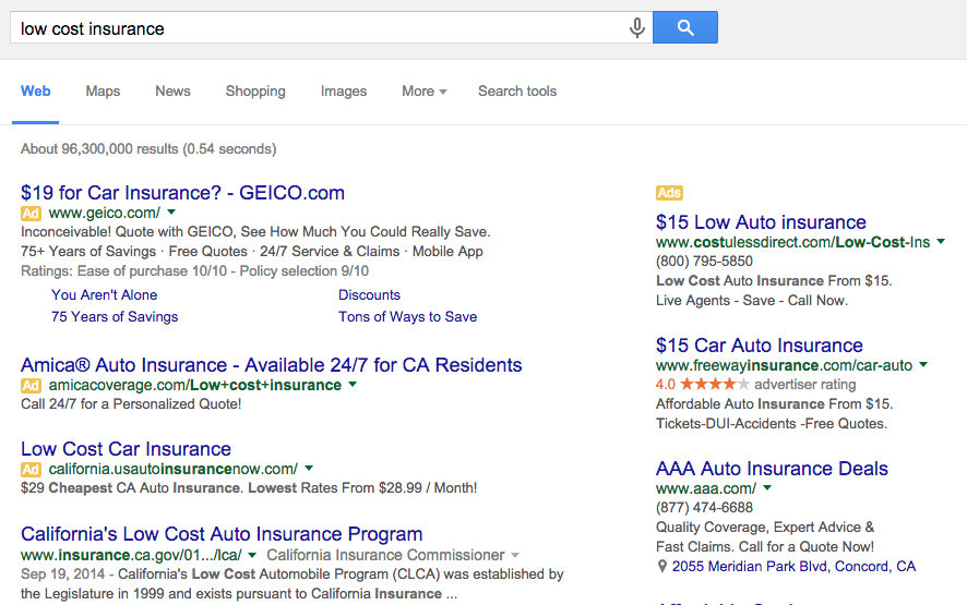 SERP for low cost insurance search
