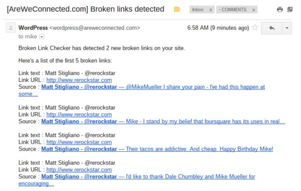 Broken link email