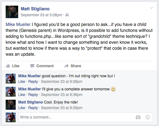 Matt asked a question on Facebook.