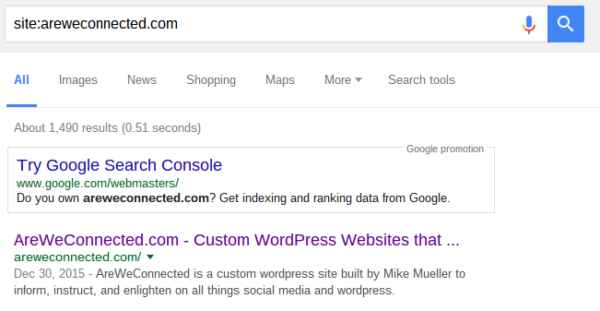 Google search for AreWeConnected.com