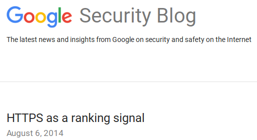 Google's post on using https as a ranking factor