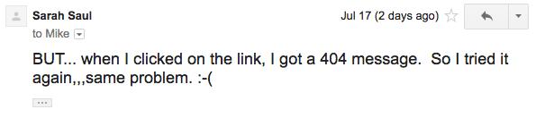 Sarah found a bad link