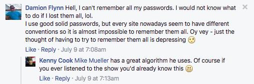 Mike Mueller has a great password algorithm