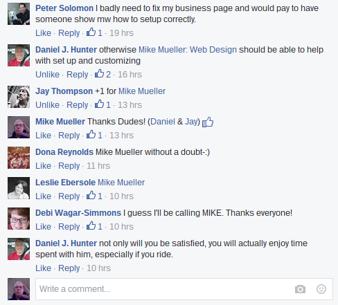Mike Mueller Builds Facebook Pages