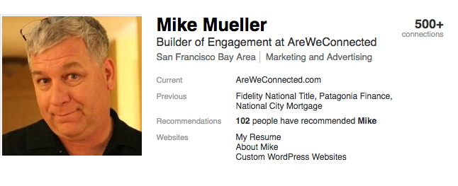 Mike Mueller on Linkedin as it appears to the public