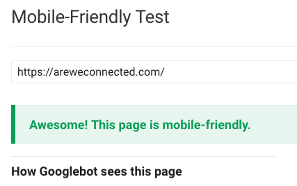 AWC as analyzed by Google's Mobile Friendly Tester