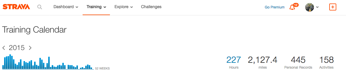 My Strava results for 2015