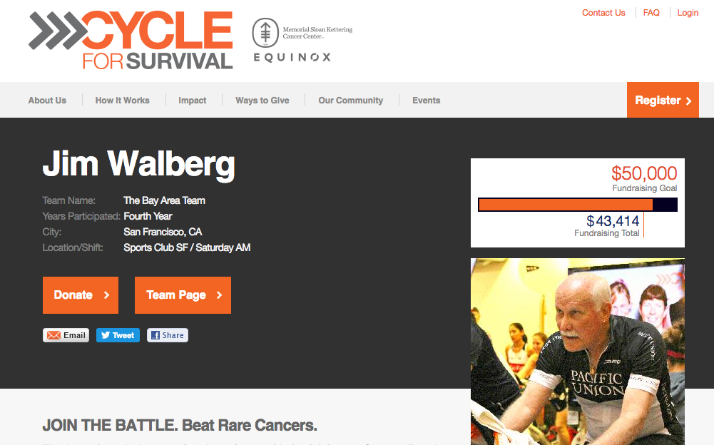 Jim Walberg is fighting cancer with Cycle For Survival