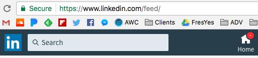 The newsfeed URL at Linkedin