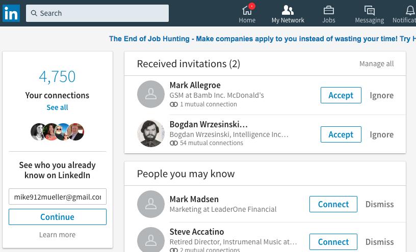 My Network Tab on the new Linkedin