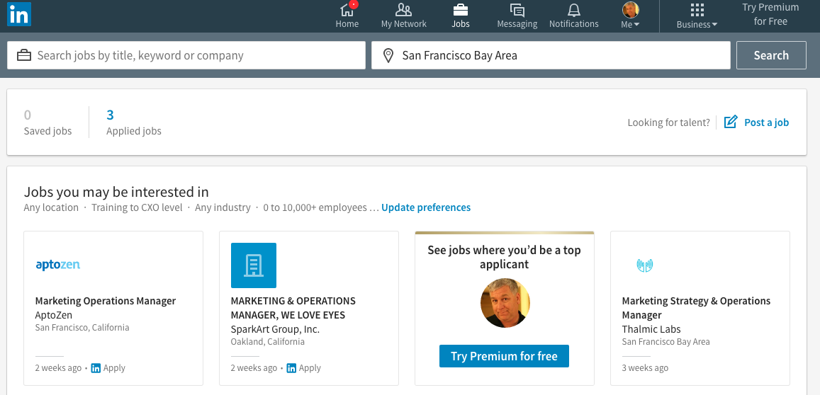 The Jobs Section on Linkedin
