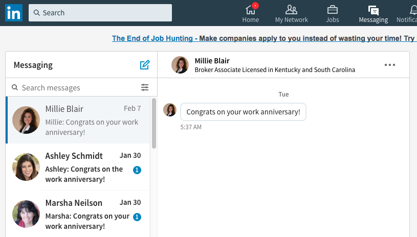 The messaging tab on the new Linkedin Dashboard