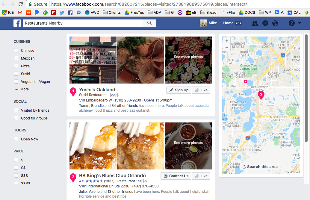 FB Search result of all the restaurants I've visited