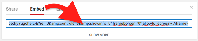 Show more options for embed