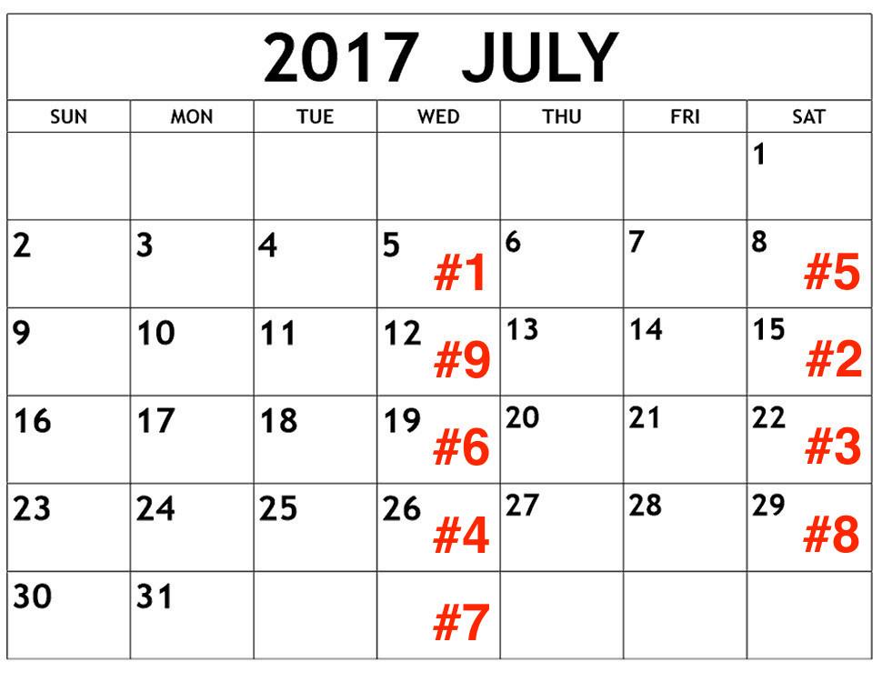 A sample editorial calendar