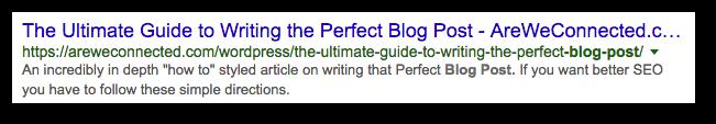 post in Google with meta description