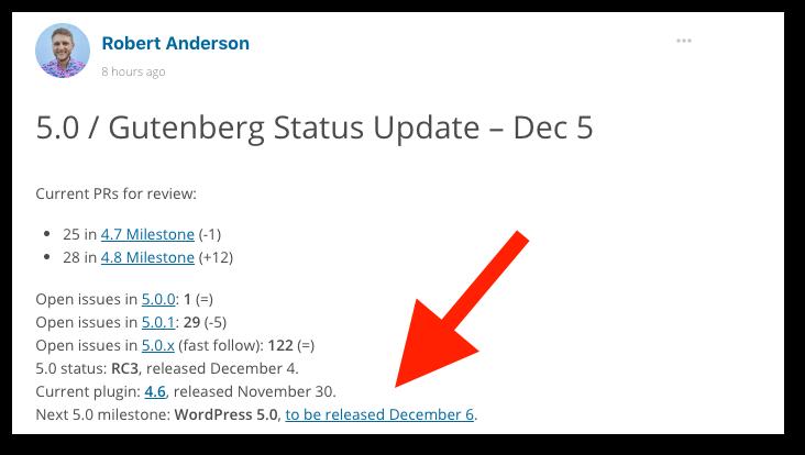 WordPress 5.0 Core Release