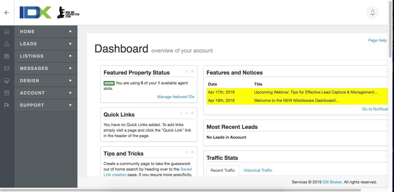 IDX Broker has a new dashboard