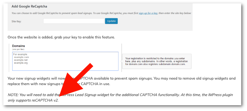 IDX Supports only Version 2 Google CAPTCHA